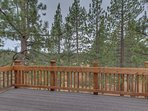 The upper level deck, private to the master suite, has great views of the meadow that the Black Bart House backs up to