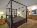 The Master Bedroom is located upstairs and is very spacious with a king sized bed.