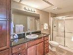 The second en suite bathroom boasts a walk-in shower.