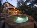 Covered patio with spa/pool overlooking The Guadalupe River