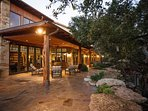 Covered patio with views of The Guadalupe River