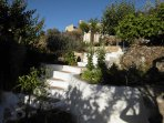 Up the garden path, acropolis/castle in the background