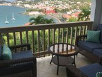 Outside Seating Area--showing view of downtown Charlotte Amalie