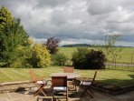 View from the patio to Captain Cook's monument and Roseberry Topping