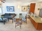 great view living room and kitchen al furnitures. cooking tools included