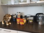We have coffee and tea service and sometimes Robin leaves snacks!!!!