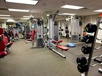 Weight room within the apartment complex