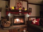 Just sit and relax in front of the fireplace!