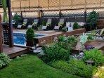 Sunning deck and gardens.