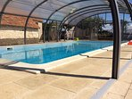 12 m heated pool. 4m high cover with clear side which lift up to suit weather. Soft water.