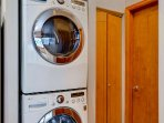In home full size washer and dryer for your convenience.