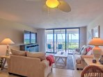 The beautifully decorated condo offers 600 square feet of beach-themed living space.