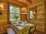 Gather around the dining room table set for 5, and talk about everything you saw while exploring the property.