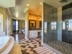 You'll love rinsing off in this spacious walk-in shower.