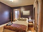 Rest your head in the master bedroom's soft, queen-sized bed.