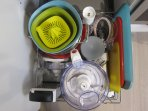 Food processor, hand blender, cutting boards, mixing bowls, and more.