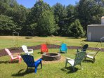 Fire pit with tons of seating, come make and share your memories here!