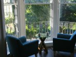 Easy chairs in the bay window