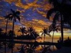 The Palms #7 Flamingo Beach Costa Rica, Sunset View from Infinity Lap Pool towards Flamingo Beach