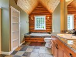 Soak your aching muscles in the Jacuzzi tub after an active day outdoors.