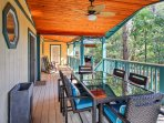 Bring a book out to the deck to read while you sit in the rocking chairs.