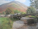 Packhorse Bridge at Wasdale Head, Lake District National Park World Heritage designated site.