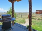 Covered portal with gas grill, open sage mesa, completely fenced yard + fenced dog run & shelter