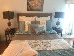 Master bedroom, brand new memory foam mattress, luxurious linens, walk in closet