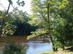 Muskegon River riverbank at the Rustic River Camping in the 'Wood Tent'