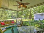 In pleasant weather, head outside to cook on the gas grill to enjoy in the covered patio area.