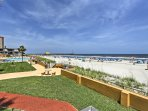 The property is situated just steps away from the sandy beach.