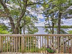 Enjoy sweeping views of the lake from this charming outdoor space.
