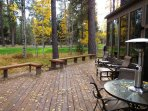 This large deck has lots of furniture for those outdoor bbq's wi