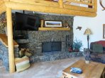 Enjoy the enormous wood burning fireplace,