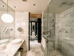 Marble shower and sinks