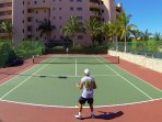 Super clean, lighted tennis court for great exercise.