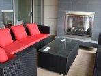 Lounge area available for year-round use by the pool, hot tub, and gym.