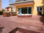 Spacious private patio with access to pools and resorts amenities!