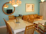 Dine, lounge, watch HDTV while you enjoy the ocean view through the balcony