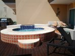Large roman hot tub in the middle of your three private decks and garden!