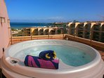 Private rooftop terrace with 4 person hot tub.