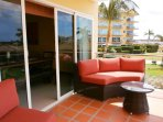Your outdoor seating area on the living room balcony