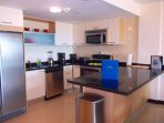 Open and fully equipped kitchen.