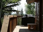 Deck with seating and BBQ grill