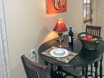 The table inside is perfect for sharing quaint home-cooked meals.