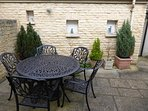 Private Courtyard Garden  with secure (yale lock) rear exit door to back street