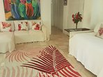 Red Coral Living Room with Red Carpet