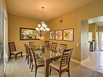 Everyone in your travel group can eat together at the table in the dining room.