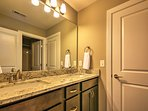 The guest bathroom is shared by the two guest bedrooms.