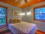 Those staying in the bedroom on the main floor will enjoy a plush queen bed.